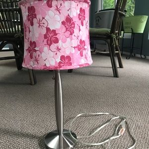 Bedside Lamp with Pink Floral Lamp Shade
